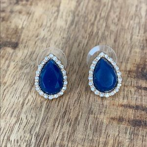 Blue Teardrop Stud Earrings